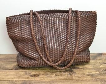 Vintage Boho Large Woven Leather Tote Bag - Chocolate Brown