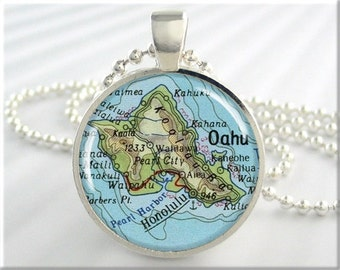 Oahu Map Pendant Resin Charm Honolulu Oahu Hawaii Travel Map Necklace Picture Jewelry (300RS)