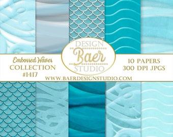 Turquoise Waves Digital Paper, Waves Digital Paper, Sea Water Digital Scrapbook Paper, Water Digital Paper, Digital Paper Summer, #1417