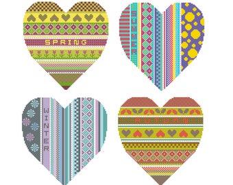 Set of 4 charts PDF cross stitch pattern Spring Summer Autumn Winter Seasonal Hearts