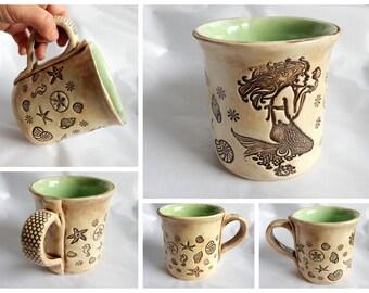 One of a kind Extra Large Mermaid Ceramic Coffee Mug Tea Cup Seahorse Seashell Starfish Sea Glass Color Pottery Mug OOAK 16 oz