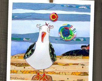 One Seagull - Cheeky Seagulls - Seagull at the Beach - Blank Card