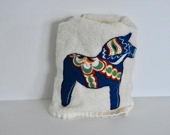Embroidered Dala Horse Towel