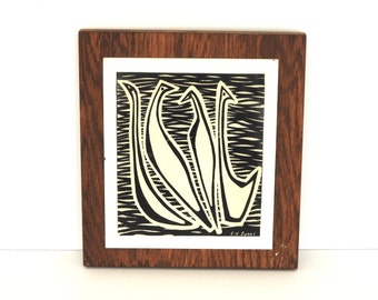 Mid Century Modern Carved Linoleum Bird Art- Abstract