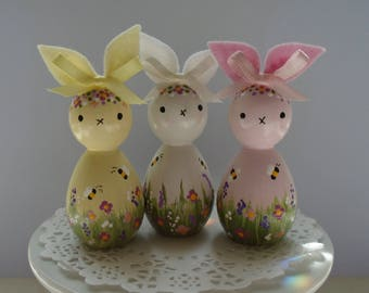 NEW*** Hand Painted Wooden Bunny Peg Doll -  Garden Theme