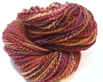 Aran weight Handspun yarn - BFL Blue Faced Leicester - 199 yards of handspun 2-ply yarn - 6 ounce skein - Autumn in Venice