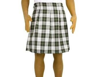 Adult Men's Green & White Tartan Plaid Scottish Kilt Costume Golf - Standard and Plus Size