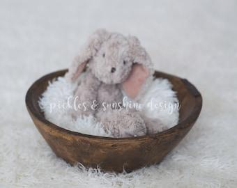 Newborn Photography posing bowl, Vintage reproduction, Primitive dough bowl made from resin, posing prop, posing bowl
