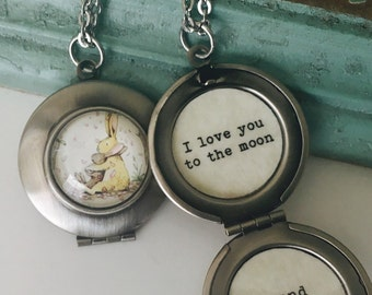 I love you to the moon and back necklace, bunny locket, nutbrown hare, gift for daughter