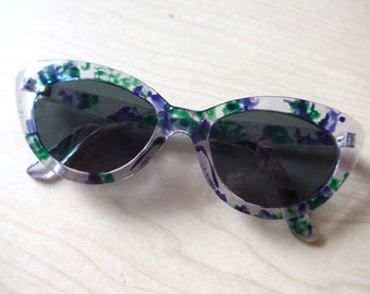 Amazing French Vintage 1950's Cat Eyes Sunglasses, Translucent Green & Purple Frame - Rockabilly Pin-Up Style