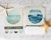 Modern 2017 Calendar, Ocean Desk Calendar, Water Office Decor, Circle 5x7 Calendar, Polkadot Lake Calendar, Geometric 4x6 Calendar, Round