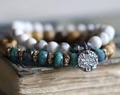 White Turquoise, Howlite, Bead Bracelet, 8mm, Creamy White, Sterling Silver Charm, Botanical Charm, Stack Bracelet, Stretch Bracelet
