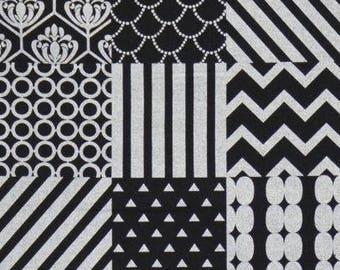 KOKKA ECHINO - Etsuko Furuya - Piece Silver/Black Linen Canvas - Metallic