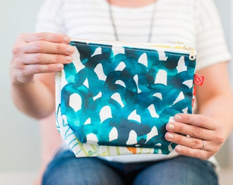 Travel Zipper Pouch - Blue Scales (Large or Small)