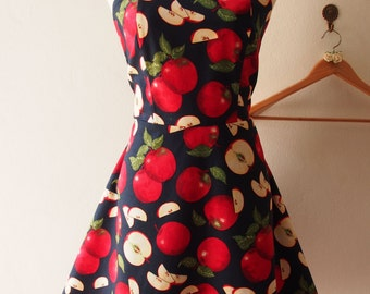 Red Apple Dress Ted Sundress Festive Vintage Inspired Retro Rockabilly Tea Party Dancing Skater Dress Red Summer Sundress -Size M