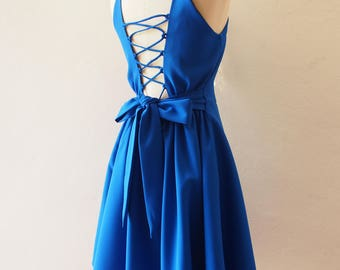 Cross Rope Dress Backless Party Dress Royal Blue Dress Blue Bridesmaid Prom Cocktail Special Occasion Short Evening Dress La La Land Dress