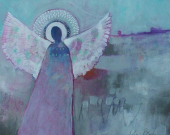 "Abstract Angel Painting, Soft Colors, Figure, Light Blue, Gray, Spirit Guide, ""Angel of the Open Places"" 20x24"""