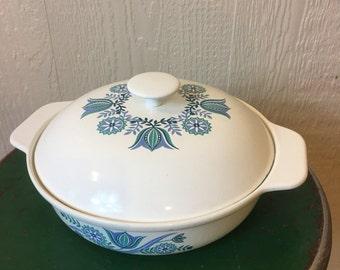 Vintage Blue Tulip Enamelware Covered Casserole Dish Prizer Ware Kitchen