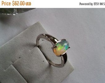 ON SALE at Etsy Ethiopian Opal Sterling Silver Ring,10x5mm, AAA, Smooth Oval Cab, Solitare Setting, Beautiful, Wedding, Engagement,