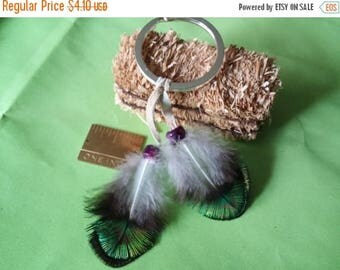 On Sale At Etsy Key Chain, Peacock Feathers. Great Gift Idea, Light Weight, Colorful, Iridescent, OOAK, Fathers Day, Mothers Day, Graduation