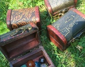 On Sale 20% OFF Wooden Treasure Chest Box, with mixed gemstone polished crystals, crystal kit, crystal set, metaphysical, new age wicca