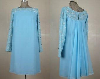 Vintage 1960s Cocktail Dress 60s Powder Blue Chiffon Dress with Beaded Neckline and Sleeves by Jack Bryan Size M