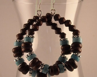 African Bone Beads Beaded Hoop Earrings with Magnesite and Hematite Beads