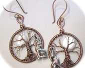 READY TO SHIP On Sale -  Wolf and the Moon Tree of Life Earrings, Antiqued Copper Moon Tree of Life Earrings