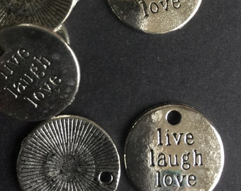 10 Charm Pendant Live Laugh Love Word engraved Tim Holtz style antique silver -- Ships from US Worldwide - Lead and Nickel Free