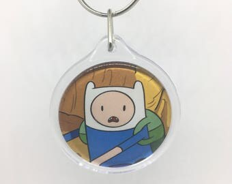 Upcycled Comic Book Keychain Featuring - Adventure Time
