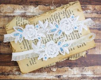 Wedding Garter Set, Something Blue,Ivory  Embroidery Flower Lace with Blue Stone Wedding Garter Set, Ivory Garter Set/ GT-34A