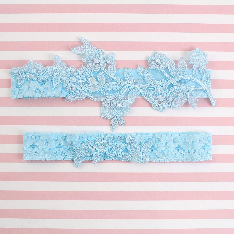 Light Blue Beaded Lace Wedding Garter Set Blue Lace Garter