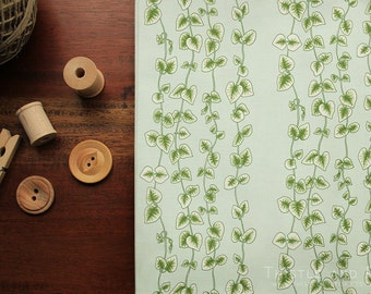 String of Hearts Fabric Succulent Vines Botanical Printed Premium Quality Cotton Fabric Yardage | Ships from USA, Free Ship Worldwide