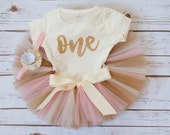 First birthday outfit 'Luca Gold' first birthday outfit girl pink and gold birthday tutu set gold crown headband first birthday tutu outfit