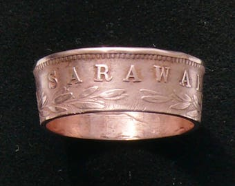 Rare Sarawak 1 Cent Coin Ring, Ring Size 7 and Double Sided