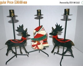 on sale Christmas  candle sticks a set of  3 metal candle holders    reindeer  candle holders  Santa Claus candle holder