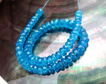 72 Stunning All New AA Gem Deep Gemmy Blue Apatite Rondelle Beads - 28.75cts - 6.80 inches
