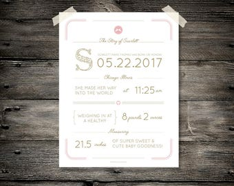 Custom Personalized Birth Announcement