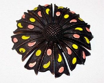 """Black Flower Brooch ALAN-J Signed Pink Green Enamel Dots 2 1/4"""" Vintage Spring"""