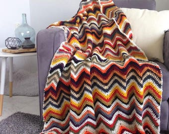 Chevron blanket - Unique fall autumn multi color crochet afghan throw