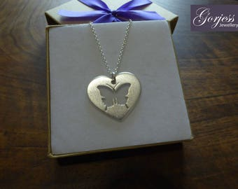 Silver Heart with Butterfly - Butterfly Heart Necklace - Heart Pendant with Butterfly - Pretty Jewelry