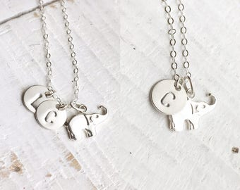 Elephant and Initial Necklace / All Sterling Silver / Personalization Gift / Everyday Jewelry, Keepsake, Graduation, Holiday, Mother's day