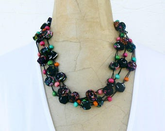 Gypsy Soul Necklace, Long Country Chic Necklace, Bohemian Floral Necklace, Handmade bright textile necklace Green, Turquoise, Pink, Orange