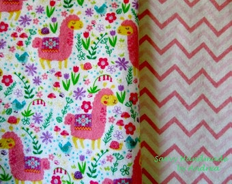 Doll Blanket with Llamas and Flowers, Reversible Flannel Doll Blanket, Doll Accessories