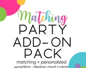Matching Coordinate Bundle Pack Baby Shower Birthday Party Bridal Shower Banner Favor Tags Insert Card Diaper Raffle Games Personalized Kit
