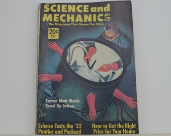 Science and Mechanics Magazine, April 1952 - Great Condition - Fascinating Articles, Hundreds of Vintage Ads, Harley Davidson 125 Ad