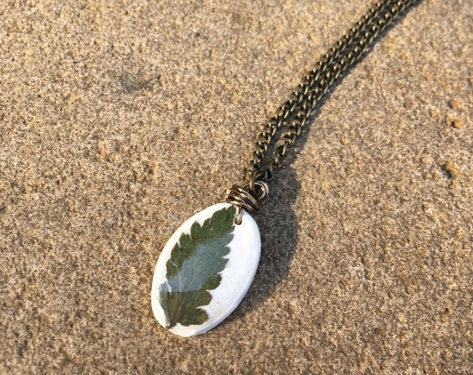 Oval Real Fern Frond Necklace Jewelry