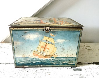 Vintage Metal Tin Box with Hinged Lid Ship Large