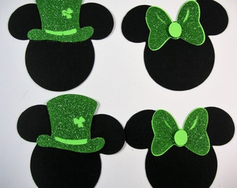 4 Mickey Mouse St Patricks Day Die cuts, Scrapbook Embellishment, Card Topper
