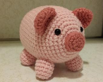 Pig- Crochet Amigurumi Stuffed Animal Plush- Pink